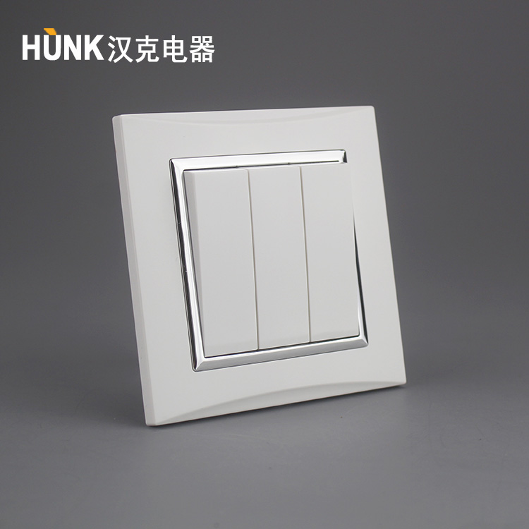 electrical material wholesales saso approved Galvanized Silver Ring panel 3 position push button 2way switch