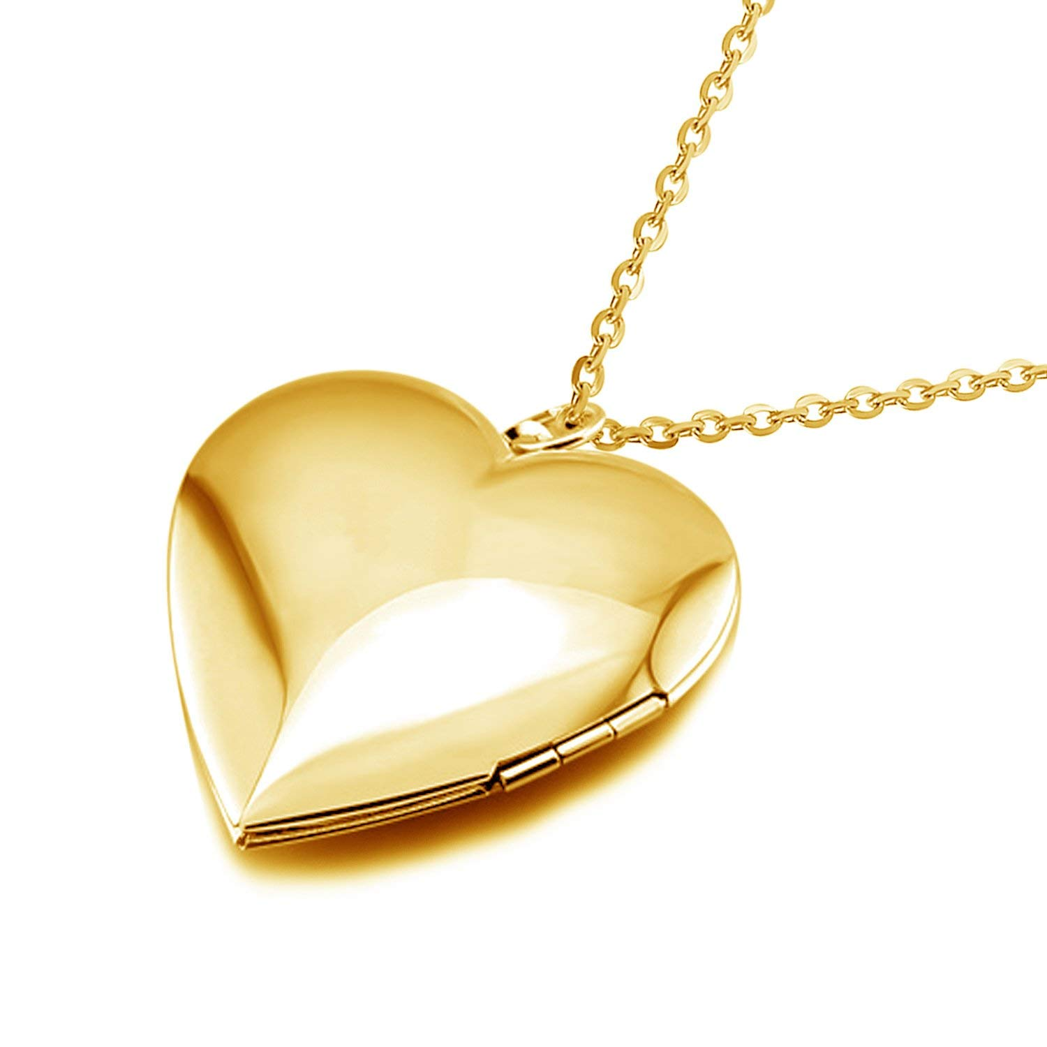 69cc3727910 Get Quotations · YOUFENG Polished Heart Locket Pendant Necklace Engraved  Love Memories Photo Locket Pendant with 18+5
