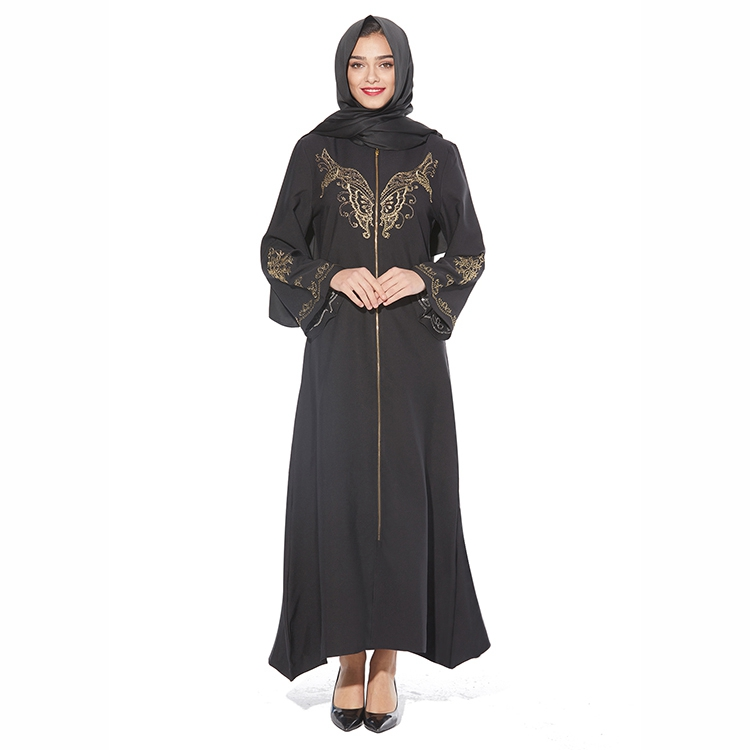 Most Welcomed Long Black Mexican Dubai Kaftan Dress Butterfly Embroidered Abaya With Diamond