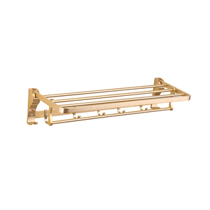 Golden Aluminum Bath Towel Rack With Hooks Towel Organizer Rail Holder
