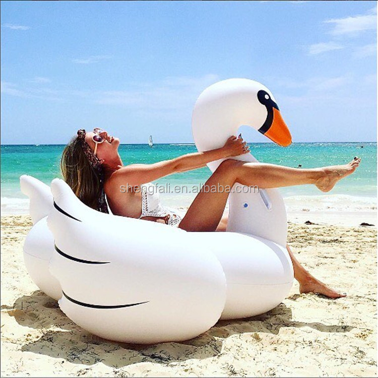 Inflatable floating toy plastic white golden Swan