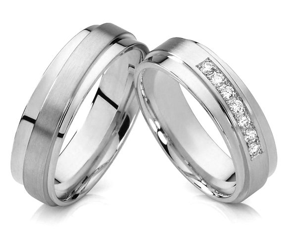 1 pair 2015 unique design silver white gold color titanium jewelry his and hers wedding bands promise rings sets for couples