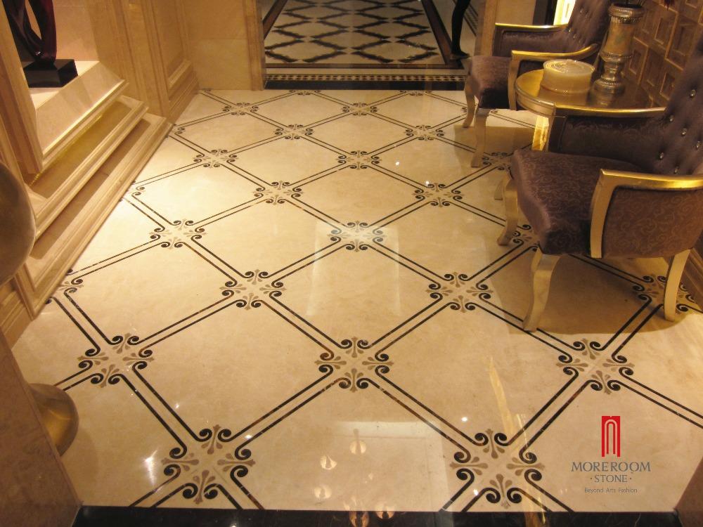 Waterjet Marble Inlay Flooring Design