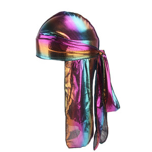 Custom make up  silk head scarf metallic laser durag head wrap polyester durag with long tail  for women and men