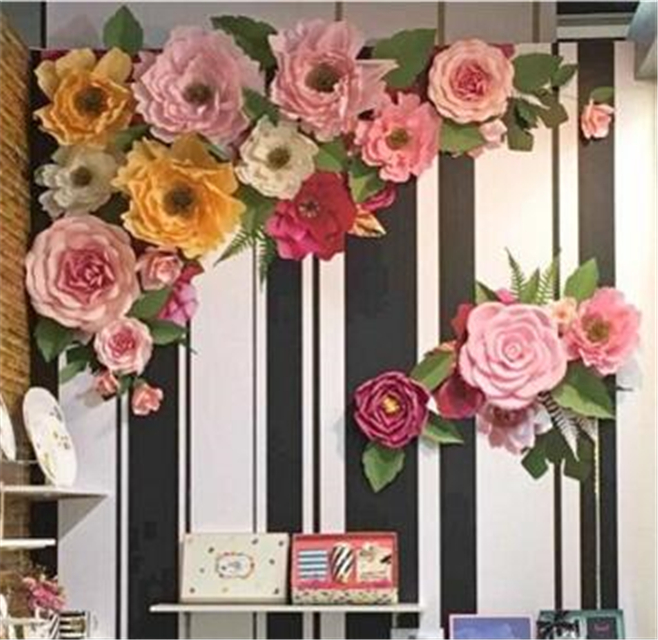 Giant 20cm paper flowers backdrops for wedding