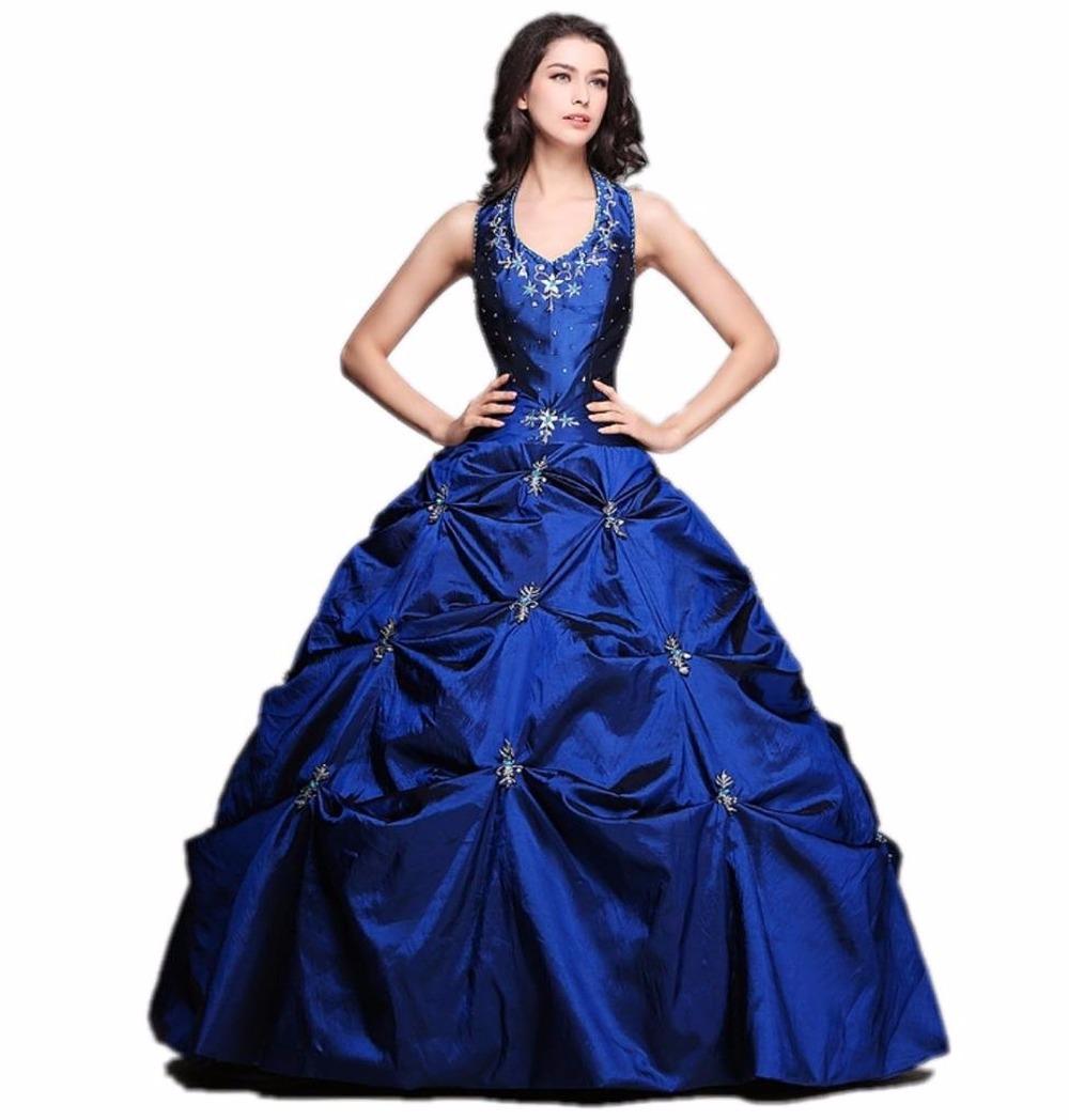 0bf153a3ee Get Quotations · Elegant vestido de festa longo Quinceanera Dresses Ball  Gown Halter Draped Beading Party Gowns Debutante Gowns