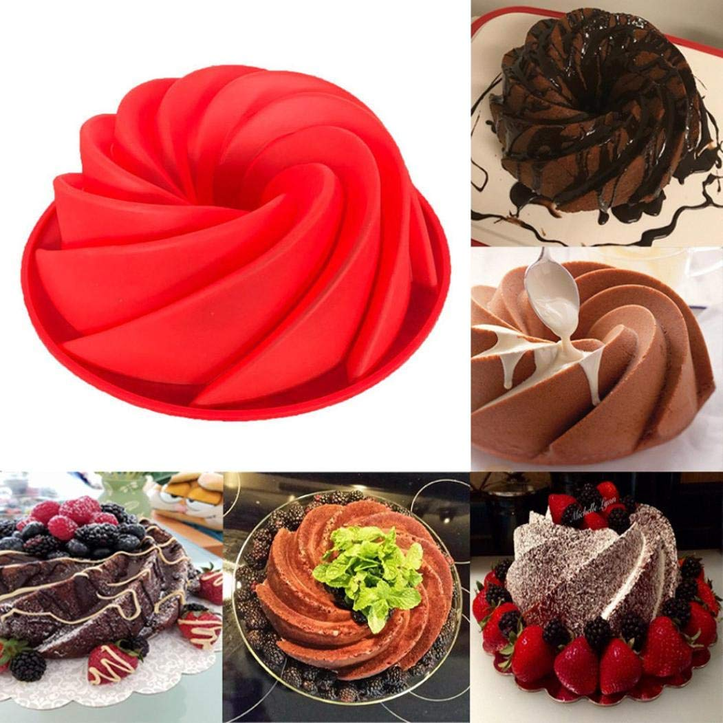 Amandaz Exquisite Big Swirl Shape Silicone Butter Cake Mould Small Baking Tools For Cake Mold Bakery (Red)