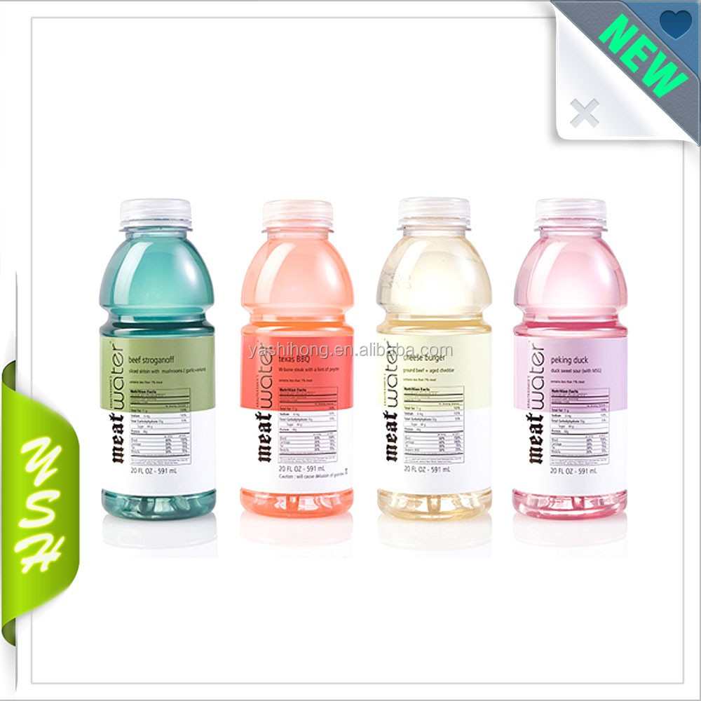 Hot jual pvc botol jus label pvc shrink wrap film lengan di cina produsen
