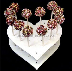 Custom Cake for Pop Lollipop Cupcake Acrylic Display Holder 15 Holes Heart Shape Stand