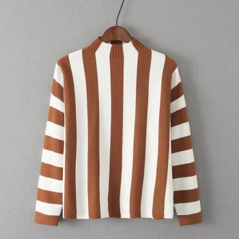 MS74690L Women striped slim fit pullover sweaters
