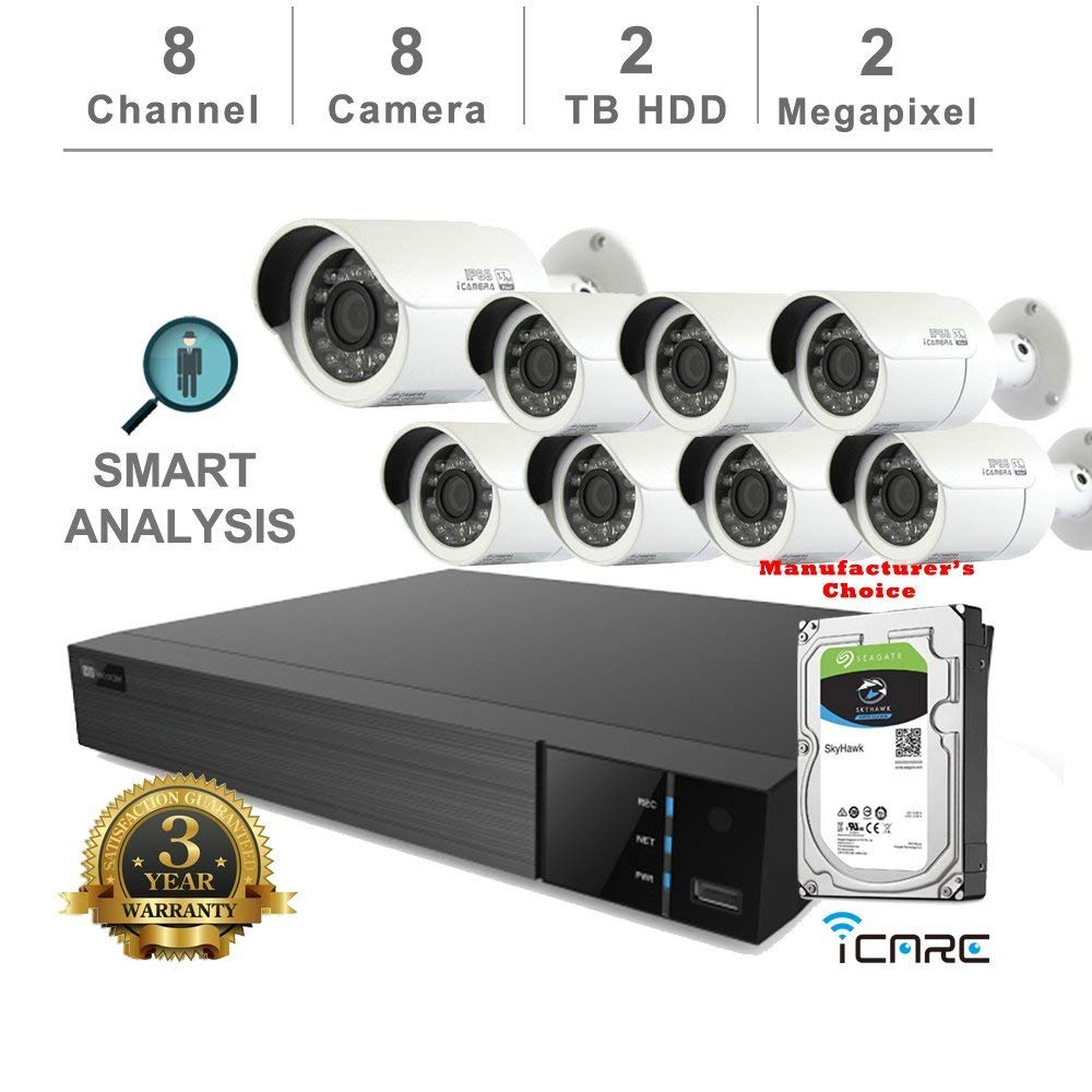 iCare-DVR Smart Analysis DVR Security Kits: 8CH 5 in 1 DVR w/2TB Security HDD+ (8) 2MP Outdoor IR White Bullet (3 Years Warranty; Local US Support)