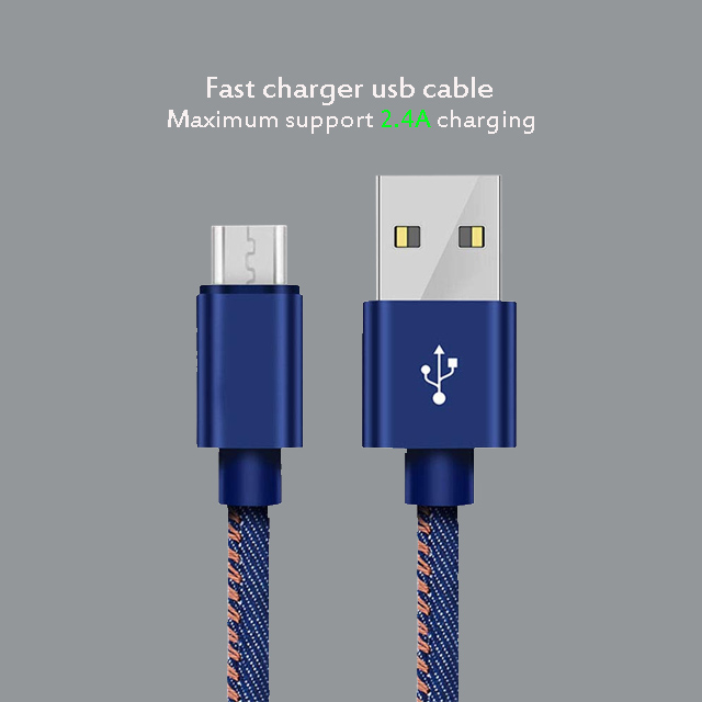 TOP Quality 2.4A Fast Charging Supply Usb Date Jeans Cable For Android mobile phone For xiaomi