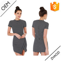 2015 high scoop neckline short sleeve black and white striped ladies office dress