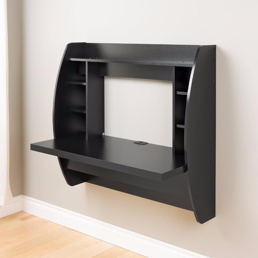 Oem خدمة مكتب الحائط الخشبية العائمة مع التخزين أسود مكاتب