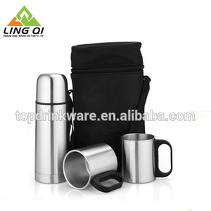 Household and travel gifts stainless steel bullet vacuum flask thermos gift set