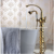 Gold PVD Free Standing Floor Mouted Bathtub Mixer Tap Bathtub Faucet