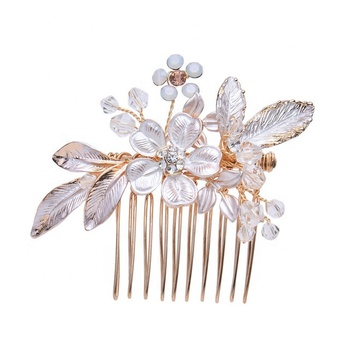 Wholesale rose gold handmade flower wedding comb bridal combs for wedding veil