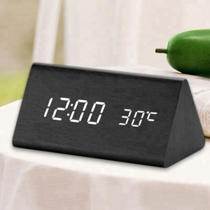 Digital LED Desk Table Snooze Alarm Wooden Clock with Temperature