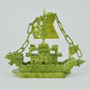 Natural Chinese Jade Dragon Boat Craft For Decor