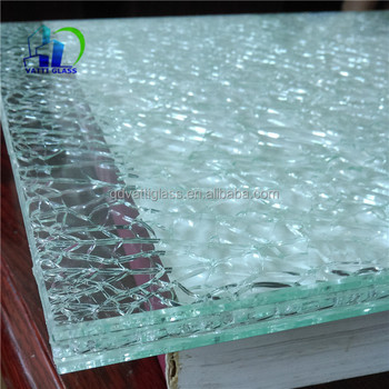 5+5+5mm Laminated Cracked Glass Table Top Cracked Laminated Glass Coffee  Table