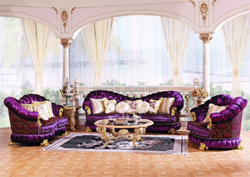 Luxury Baroque Style Living Room Furniture Sofa Set European Clic Wood Carving Purple On Tufted
