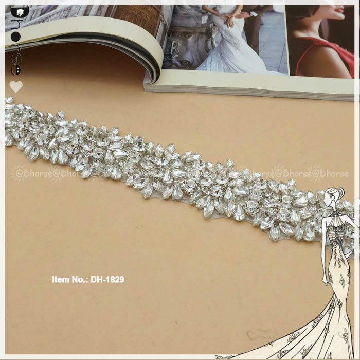 Diamante Bridal Frisado Guarnição Strass Hot Fix de Cristal Cinto De Noiva DH1829