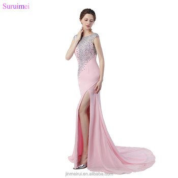 Pink Prom Dresses High Quality Chiffon Luxurious Beaded Crystals Mermaid Cap Sleeves V Back High Slit Prom Gown Girls Dresses