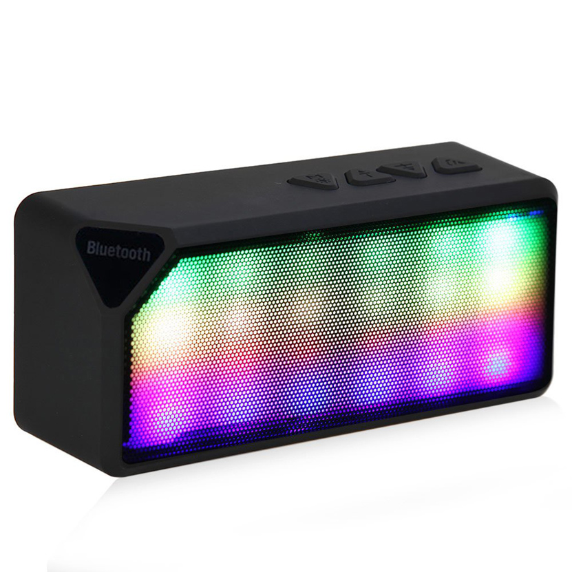 Mini Bluetooth Speaker X3S TF USB FM Radio Wireless Portable Subwoofer Loudspeakers with Leds Built In for iOS Android