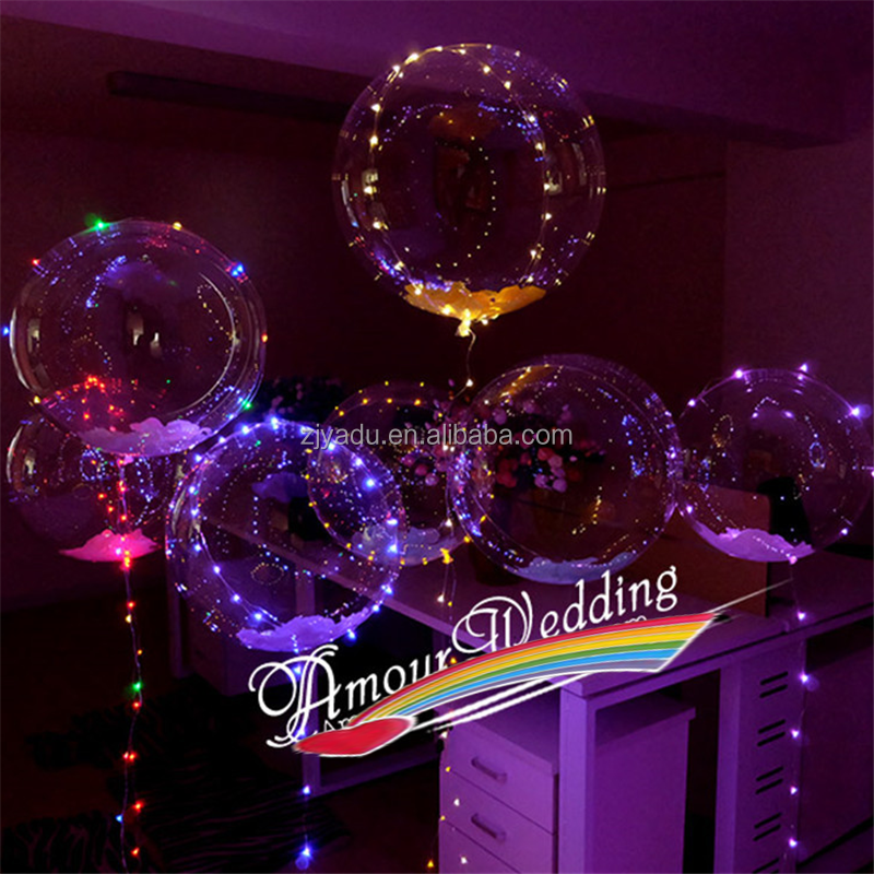 2017 Inflatable Multi Color Lights String 18 inch Round Helium Balloons Outdoor Party Flashing Bobo LED balloons