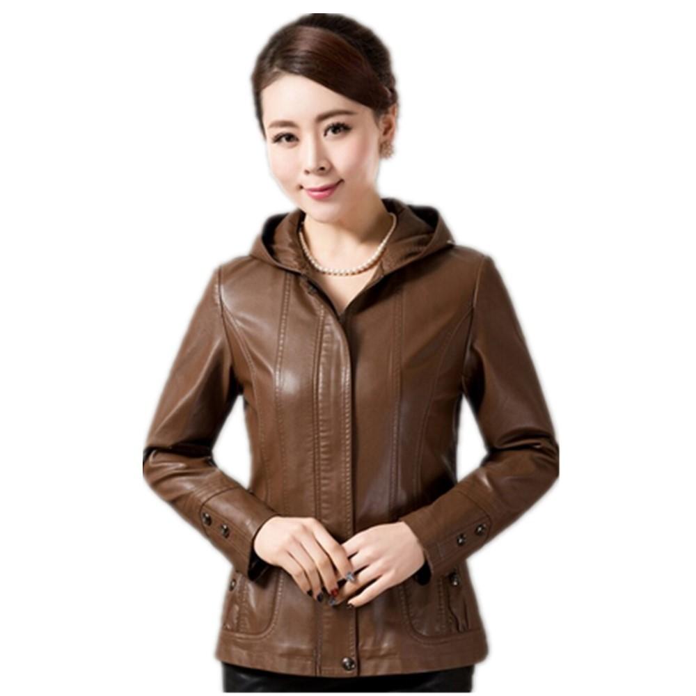 6ba10f6ed4d04 Korean Style 2015 Autumn Elegant Middle Aged Women Long Sleeve Hooded Leather  Jackets