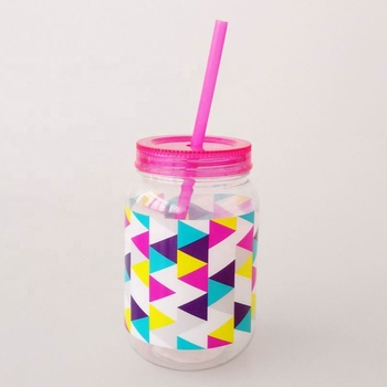 Custom Printing 20oz Plastic Mason Jar without handle