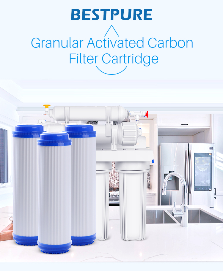 Household PP GAC CTO powder cartridge filter with gift box for countertop water purification spare part for ro machine