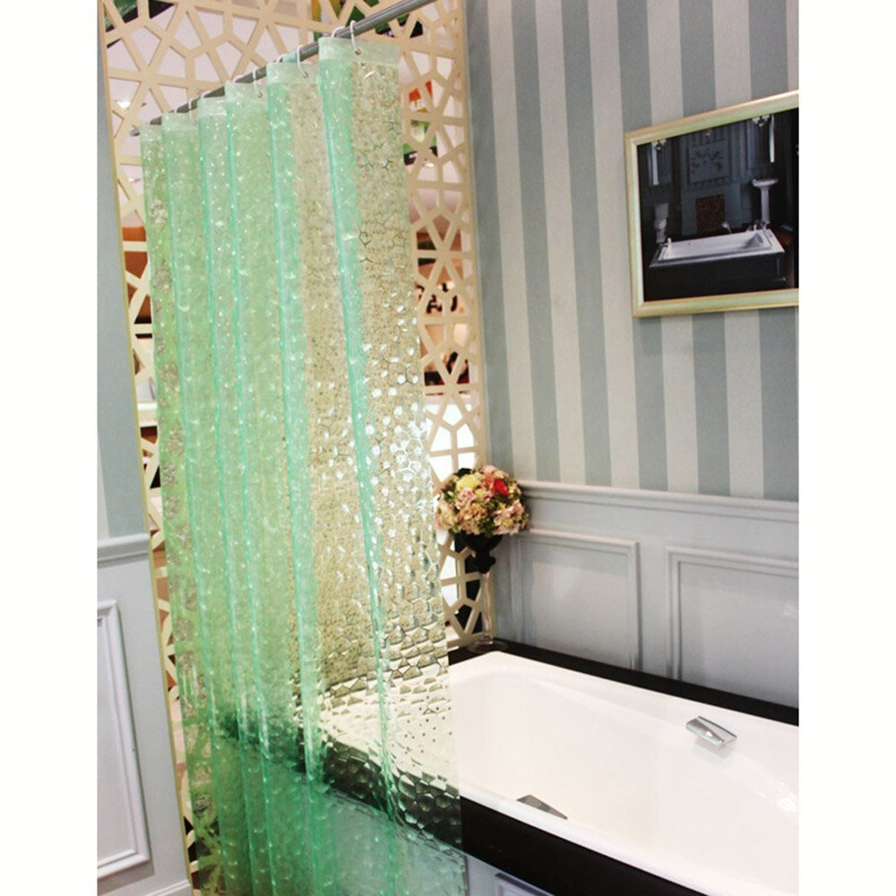 Get Quotations Waterproof Bath Shower Curtain Liner Mildew Resistant 3D Cube Effect Thicken Bathroom Enclosure