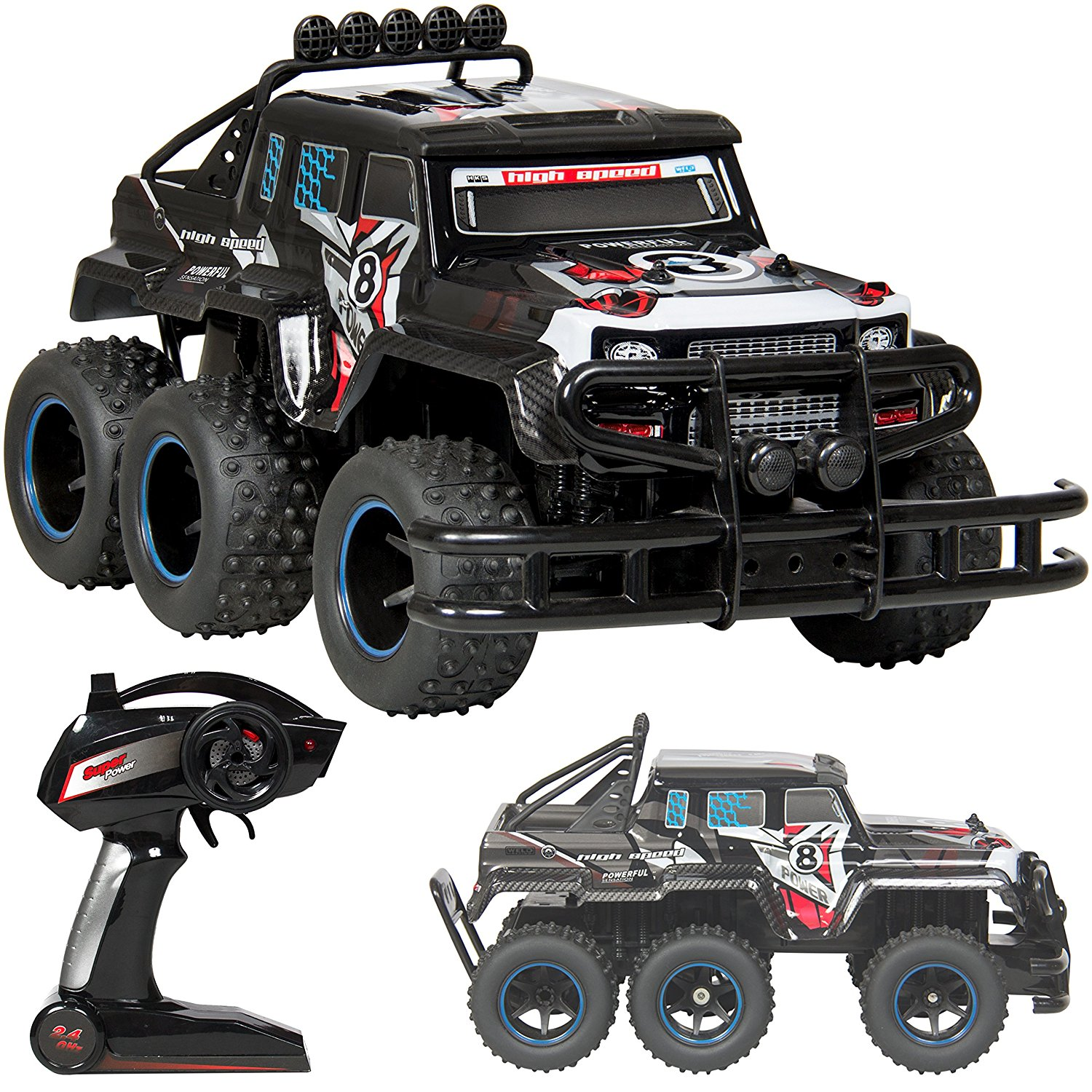 Best Choice Products 2.4 GHz RC Speed Truck 6X6 Drive High Performance 1:10 Scale Remote Control Car- Black