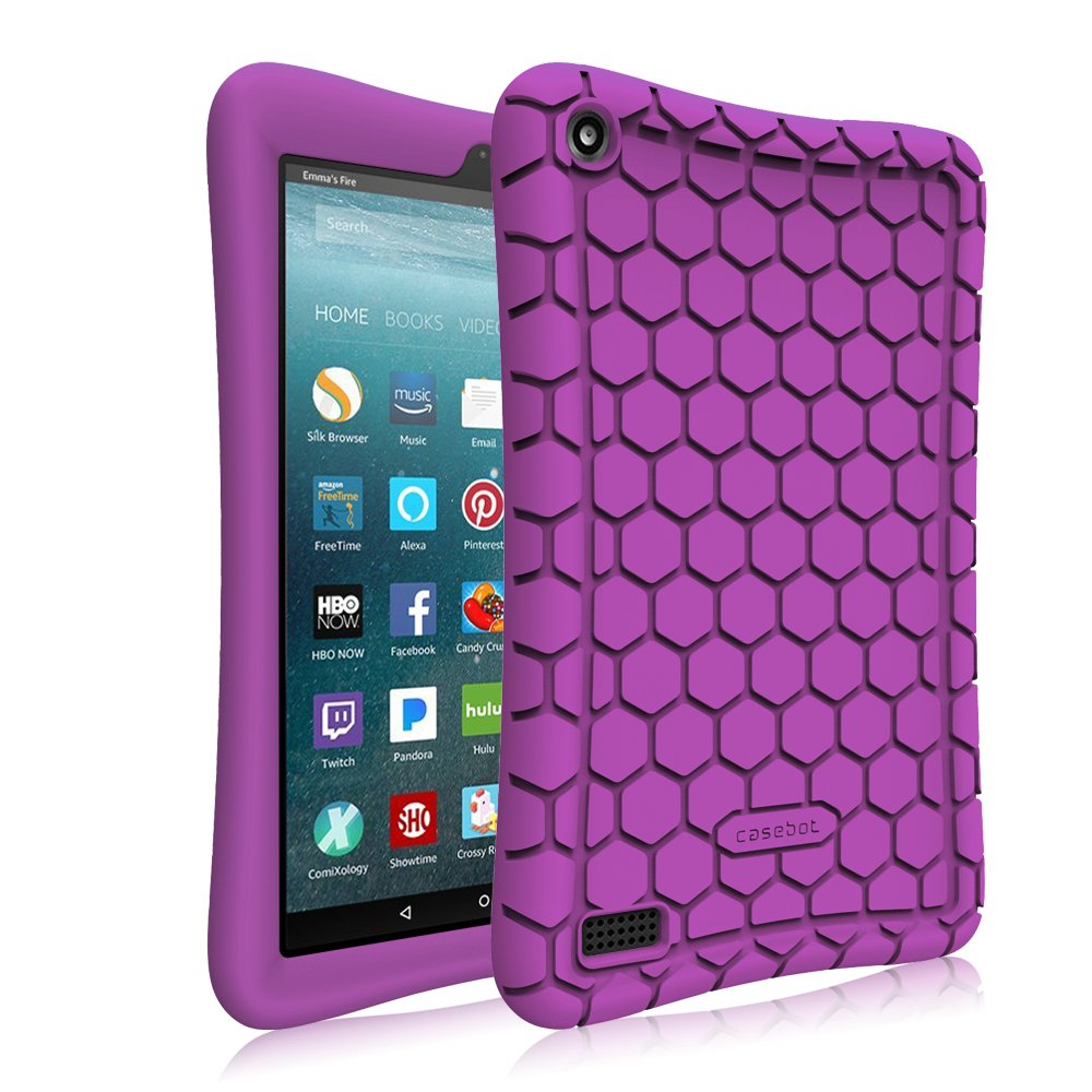 Fintie Silicone Case for All-New Amazon Fire 7 Tablet (7th Generation, 2017 Release) - [Honey Comb Upgraded Version] [Kids Friendly] Light Weight [Anti Slip] Shock Proof Protective Cover, Purple