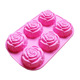 6 cavity rose flower shape design silicon cake mold