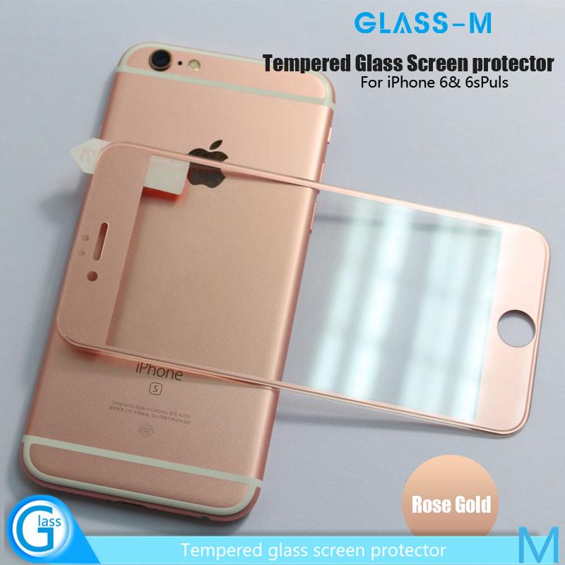 3D Oro Rosa Metal Edge Iphone 6 Película Protectora De Pantalla de Vidrio Templado De Gorila
