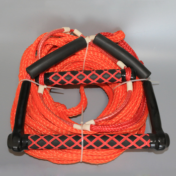 1/2' Orange color 16 strands hollow braided PE Wakeboard Rope with Trick Handle, 75' water surfing rope