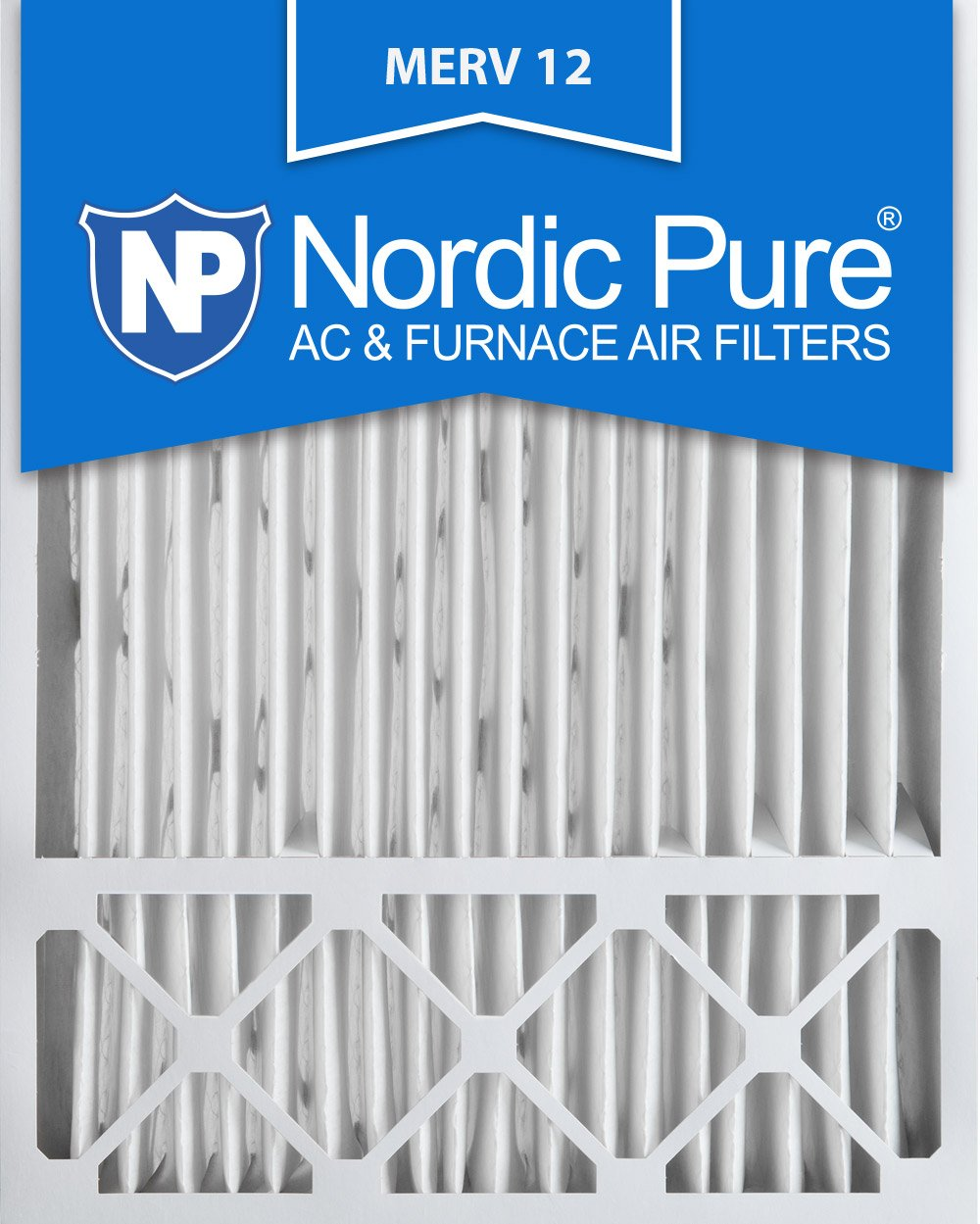 Nordic Pure 20x25x4/20x25x5 (19 5/8 x 19 7/8 x 4 3/8) Honeywell FC100A1037 Replacement Pleated AC Furnace Air Filters MERV 12, Box of 1