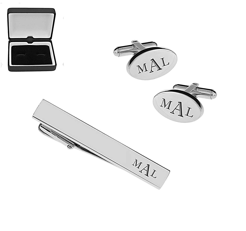 Personalized Silver Oval Cufflinks & Tie Bar Clip Set Custom Monogram Engraved Free