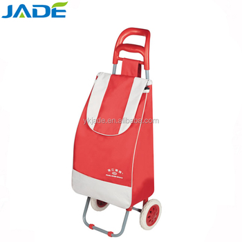 Folding shopping trolley bag with 2 wheels,supermarket foldable grocery trolley bag wholesale