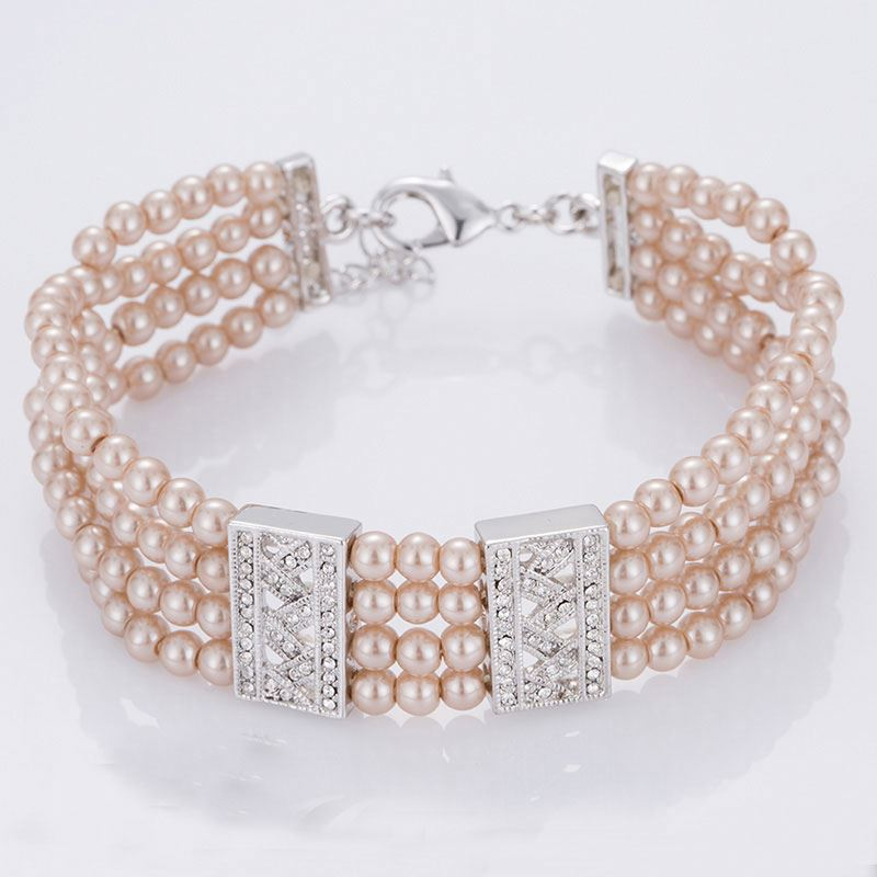 Cheap elegant ladies fake pearl four layered bracelets bulk