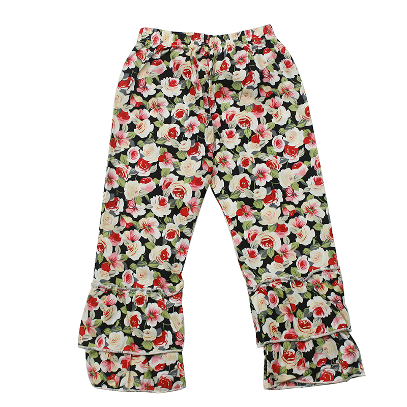 Hot Sale Printed Girls Clothes Pant With Ruffle Design Bottom Wholesale Price Legging