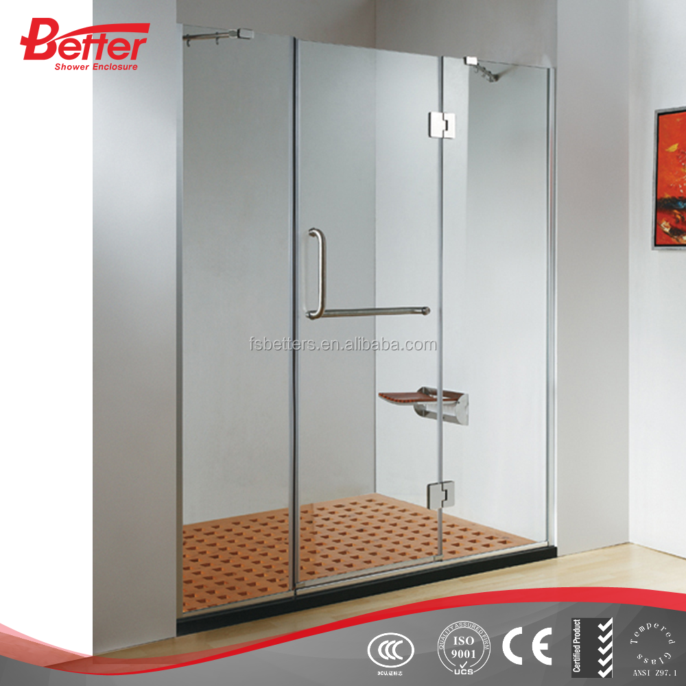 Hinge frameless 8mm tempered glass shower surround