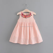 High quality pure color no sleeve cotton baby girls dress