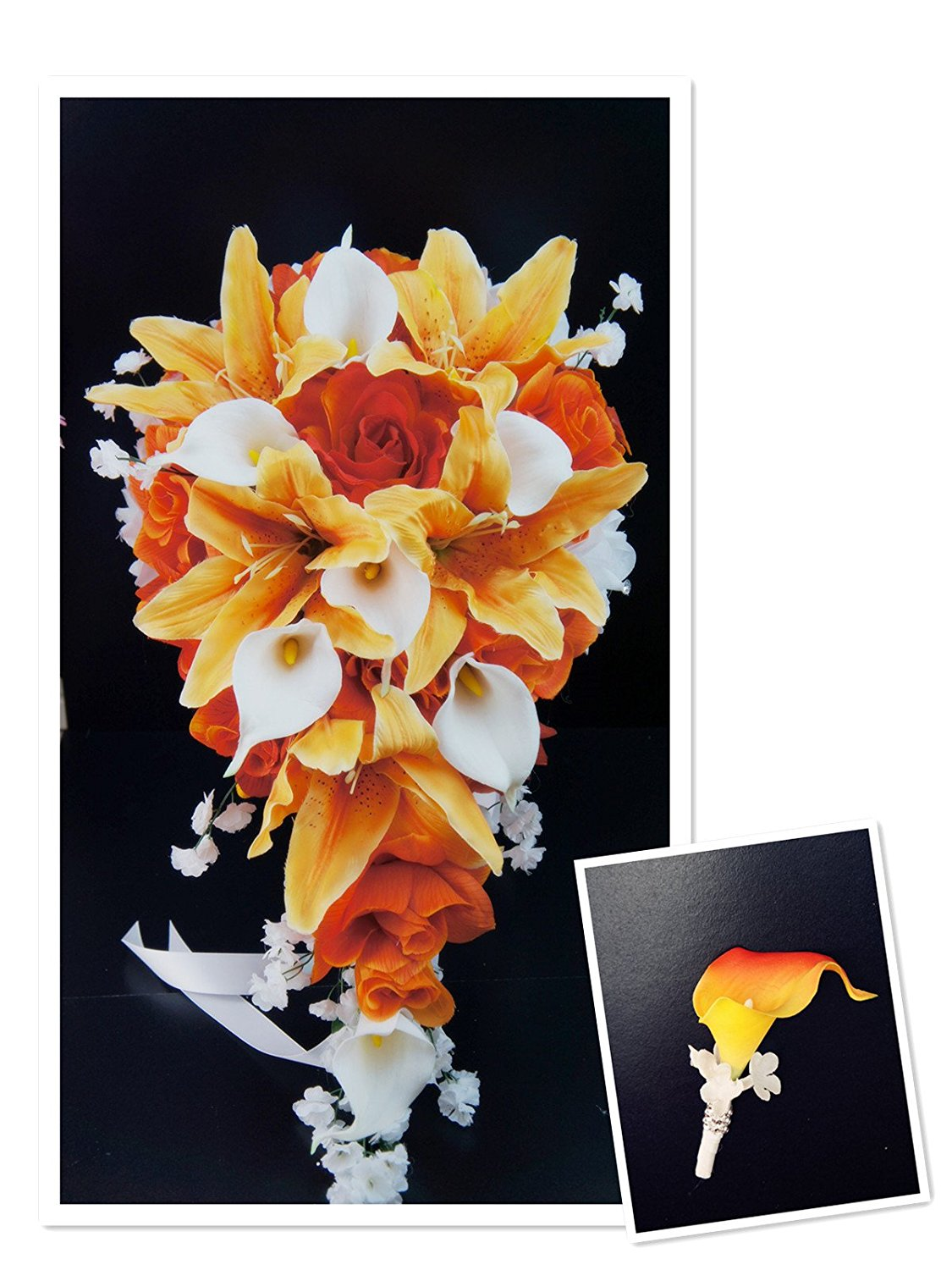 Perfect for Fall weddings-Orange,White-Rose,lily,REAL TOUCH calla lily silk flower cascade bouquet&boutonniere set.