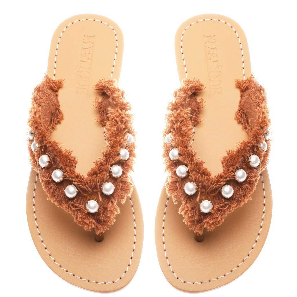 d34bfcb1228b6 Get Quotations · Mystique Original Genuine Leather Handmade Women s Brown Flat  Flip Flop Thong Beachy Sandals