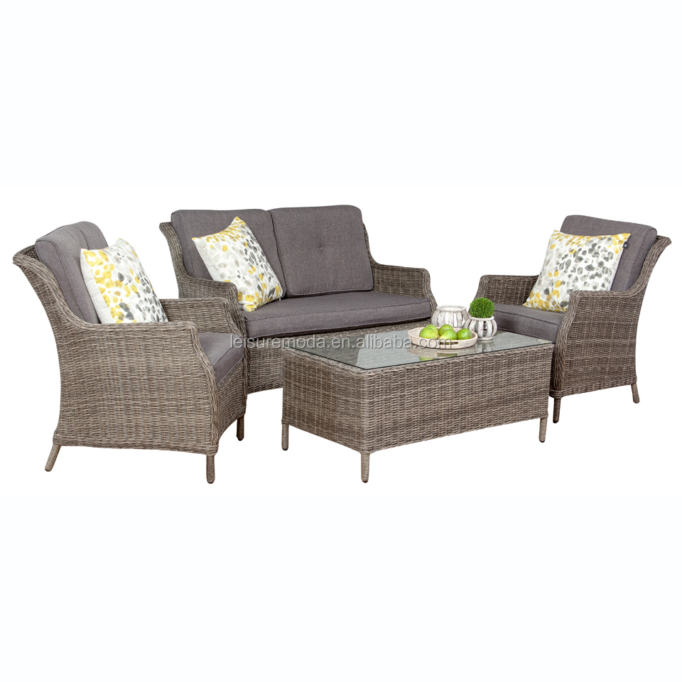 Light brown color rattan wicker garden classic sofa party sofa set by 2 seating and single seat and teatable