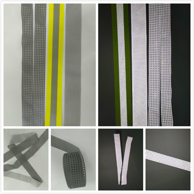 high vis lightweight 100% polyester regular holes punch non stretch silver reflective fabric