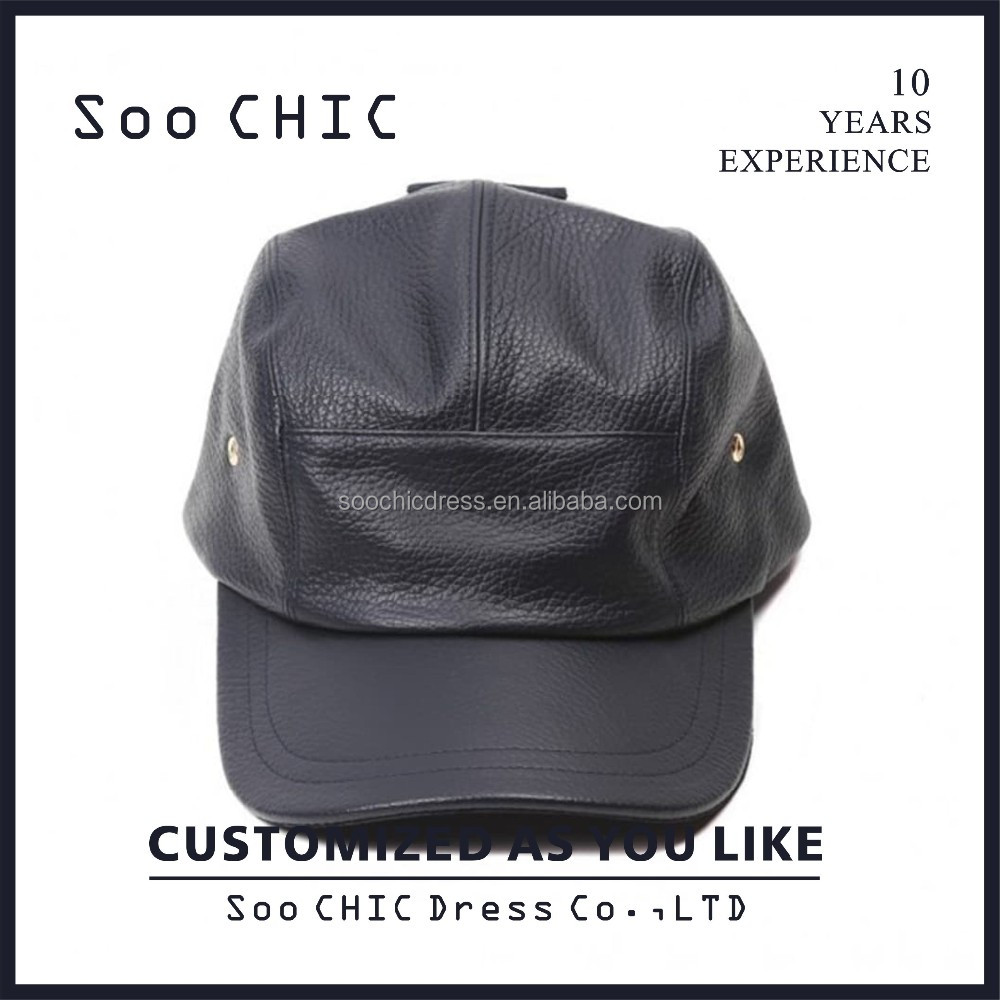 d1cbdc5a36f92 Custom Black Leather 5 Panel Hat